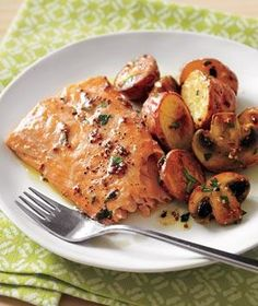 Roasted Salmon With Potatoes and Mushrooms recipe