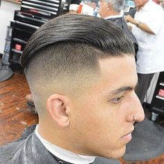 Slick Back Hair + Disconnected Undercut - Best Slick Back Hairstyles: Slicked Back Fade and Slick Back Undercut Slick Back Undercut, Slick Back Haircut, Undercut Men, Slicked Back Hair, Undercut Pompadour, Disconnected Undercut, Best Short Haircuts, Cool Haircuts, Haircuts For Men
