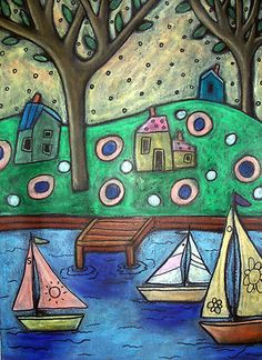 9x12 original oil pastel, Three Sailboats, copyrighted, www.karlagerard.com