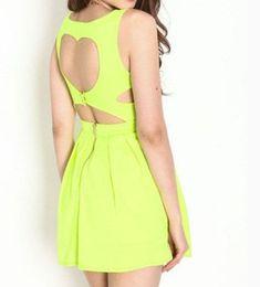 Yellow Neon Heart Pleated Dress