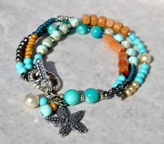 Sandy Turquoise Multi Strand Bracelet, w Starfish Charm, Coastal Bracelet - by SeaSide Strands