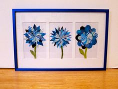 Paper Flower Collage MultiFlower Blue Frame by LaraLeib on Etsy, $50.00