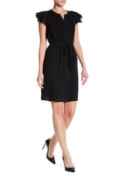 Image of Nine West Flutter Sleeve Pintuck Dress