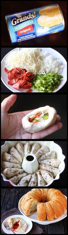 Bread stuffed with pizza toppings...I have got to try this something easy and different my kids are huge fans of pizza