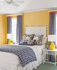 Caramel color instead of yellow. Black accents in instead of navy. Once the overall look of patterns and white.
