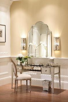 Picture of Elegant Three Drawer Mirrored Vanity-Available in Different Finishes
