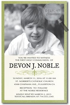 Traditional First Holy Communion Invitation for Boys Traditional Green Communion Invitation : Custom Invitations and Announcements for all Occasions, by Delight Invite Photo Invitations, Invitation Ideas, Custom Invitations, Invites, Holy Communion Invitations, Green Photo, First Holy Communion, Youre Invited, Reception Ideas