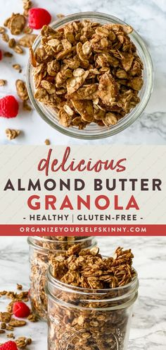 Delicious Almond Butter Granola   Healthy Oatmeal Recipes - After you make this almond butter granola, it will surely be on repeat in your house. This gluten-free granola recipe is refined sugar-free, has no oil, and uses simple pantry ingredients. Sprinkle this delicious homemade granola on yogurt bowls, or enjoy it with coconut milk for a healthy breakfast. Organize Yourself Skinny   Gluten-Free Recipes   Meal Prep Recipes   How To Lose Weight   Weight Loss Recipes   Healthy Snacks Healthy Breakfast Smoothies, Quick Snacks, Healthy Snacks For Kids, Healthy Breakfast Recipes, Snacks Recipes, Fall Recipes, High Protein Vegetarian Recipes, Healthy Freezer Meals, Clean Eating Recipes For Dinner