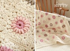 Crochet Baby Blankets Countrykitty: A labor of love ~ Pattern written in Italian and English. Crochet Afghans, Crochet Quilt, Crochet Blocks, Crochet Squares, Crochet Home, Love Crochet, Crochet Granny, Baby Blanket Crochet, Diy Crochet