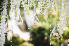 Decoration for a wedding with spheres with flowers inside Premium Photo