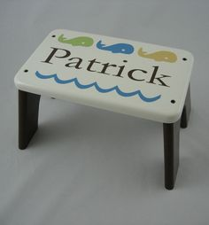 Wood Step Stool - Whale Personalized Painted Stool- Tip-resistant Step Stools By…