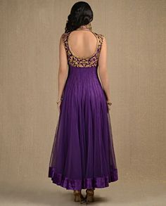 Dark Amethyst Kalidar Suit with Zardozi Work
