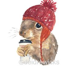 Coffee Squirrel - 8x10 Watercolor PRINT, Squirrel in a Hat, Coffee Illustration…