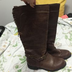 Modcloth Brown Riding Boots Selling brown boots bought from Modcloth. They're knee high with 15inch calf but back lacing so it is slightly adjustable ModCloth Shoes