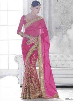 Precious Pink Zari Work Mirror Work Net Silk Wedding Half Sarees #Sarees #DesignerSarees  http://www.angelnx.com/Sarees