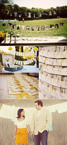 using clothes line and clothespins for guests to take their place card, perhaps also with a photo of them with bride or groom  (little favor)