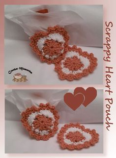 """Work up a heart pouch using scrap yarn.  This makes an ideal way to """"wrap"""" up small gifts such as perfume or jewelry - tucked inside a heart pouch."""