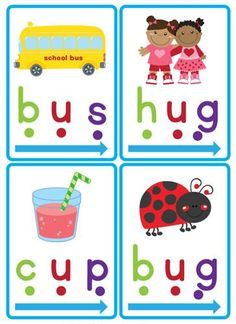 """Our """"CVC Word Slider Cards"""" are a great early literacy tool to teach children CVC (consonant, vowel, consonant) words.  Teaching children to identify """"chunks"""" in words is an important part when learning to read. Identifying these """"chunks"""" helps to build fluency as the children will not need to stop and blend each individual sound.  You will receive 60 cards showing CVC words with pictures."""