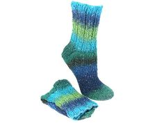 Hand Knit Unisex Socks Green Blue Stripes Cotton Rayon Silk Socks Absorbent, NonAllergic, Casual Slipper Socks, Sport Socks, 173 TYNE VALLEY