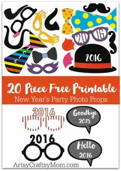 20 Free Printable New Year's Photo Props