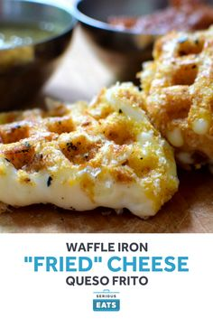 """Waffle Iron """"Fried"""" Cheese - Breaded, melty cheese is something that crosses cultures—from deep-fried mozzarella sticks at state fairs to queso frito in Latin America. Queso Cheese, Cheese Fries, Fried Cheese, Cheese Waffles, Cheese Snacks, Cheese Recipes, Queso Frito Recipe, Funfetti Kuchen, Waffle Maker Recipes"""