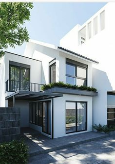 Minimal House Design, Modern Small House Design, Modern Minimalist House, Architect Design House, Narrow House Designs, Townhouse Designs, Facade House, House Roof, Industrial House