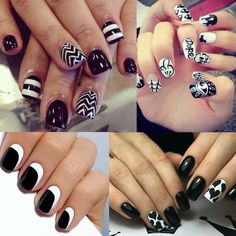 CLAVUZ Black and White Nail Polish with Base Top Coat Set Cure Under UV LED Lamp Fashion Nail Art at Home Pack of 4 : Beauty