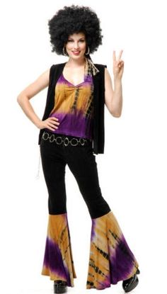 Women`s Groovin Baby Costume - This costume is perfect for Halloween, 60s themed parties, or anywhere else that you feel like getting your groove on. You`ll be on the bus this Halloween with this fantastic Groovin' Baby Hippie Outfit.  This four-piece women`s costume includes a vest, top, pants and headband. The vest and pants are both soft velveteen. The vest has fringe trim at the bottom. #calgary #yyc #costume #hippie #1970s #1960s #retro #bellbottoms