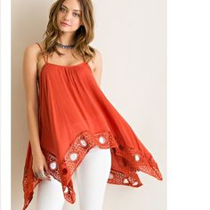 Brand new top RUST COLOR Crinkle rayon handkerchief flare tank top featuring crochet lace on hem. Unadjustable straps. Non-sheer. Woven. Lightweight.  100%RAYON Entro Tops Tank Tops