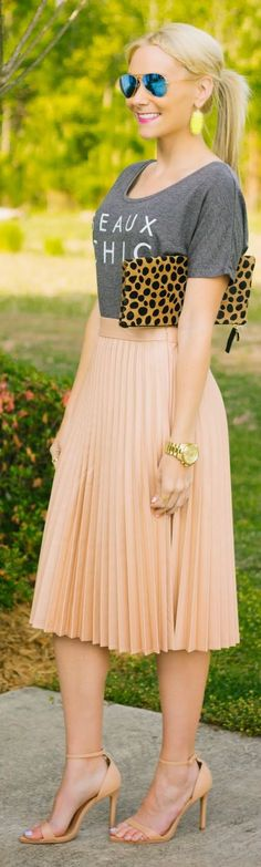 Zara Nude Pink Coated Pleated Midi Skirt by