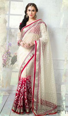 Crimson and Ivory Embroidered Brasso Net Saree Price: Usa Dollar $118, British UK Pound £69, Euro87, Canada CA$126 , Indian Rs6372.