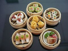 Set of 6 Dim Sum Chinese Cuisine Handmade Dollhouse Miniatures Food Deco 2