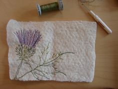 Thistle design, stitching on the inside really pleased me :) Felt Gifts, Needle Book, Stitching, Studio, Books, Flowers, How To Make, Design, Costura