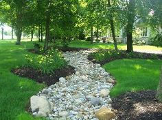 Dry creek bed in the garden for drainage problems