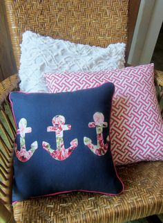 Anchors Away floral pillow for a little girls room