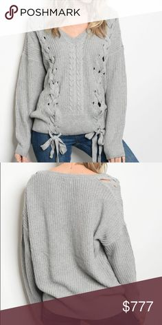 """COMING SOON Gray Lace Up Front Chunky Knit Sweater Coming soon! """"Like"""" to be notified upon arrival. Gray lace up front sweater featuring a v-neckline and cable knit detail. 100% acrylic. The Luxe Bohemian Sweaters V-Necks"""
