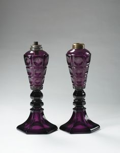 TWO MATCHING BOSTON & SANDWICH GLASS COMPANY AMETHYST PRESSED 'FOUR-PRINTIE BLOCK' WHALE OIL LAMPS, 1840-50. | Northeast Auctions