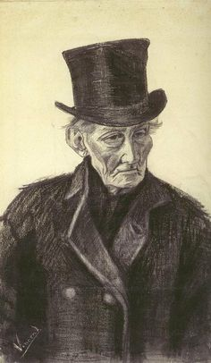 Old Man with a Top Hat - Vincent van Gogh . Created in The Hague in December - January , 1882 - Located at Van Gogh Museum Vincent Van Gogh, Van Gogh Drawings, Van Gogh Paintings, Alphonse Mucha, Desenhos Van Gogh, Van Gogh Arte, Theo Van Gogh, Van Gogh Pinturas, Artist Van Gogh