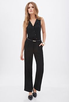 Contemporary Pleated Button-Front Jumpsuit | Forever 21 - 2000058266