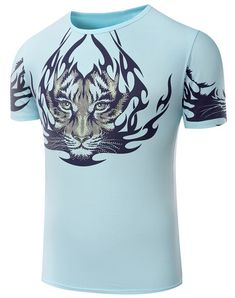 Round Neck Tiger Pattern Print Short Sleeve T-Shirt For Men #jewelry, #women, #men, #hats, #watches, #belts, #fashion