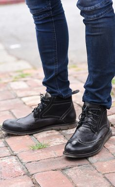 black boots and dark denim always create a killer rocker look for any guy. These unique wingtip boots from BEDSTU are hand made and hand painted. The upper is made of suede which adds an extra touch