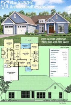 Introducing Architectural Designs Craftsman Ranch House Plan 51757HZ. This home gives you 3 beds, 2.5 baths and over 2,200 square feet of living with a split bedroom layout. Ready when you are. Where do YOU want to build?