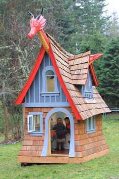 Dragon-themed Luxury Children's Playhouse by TheTideline on Etsy Outside Playhouse, Backyard Playhouse, Build A Playhouse, Playhouse Windows, Fairy Houses, Play Houses, Cubby Houses, Luxury Playhouses, Childrens Playhouse
