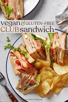With three layers of toasted gluten-free sourdough, crisp lettuce, juicy tomatoes, vegan deli slices and creamy mayo, this vegan club sandwich is the answer to all your gluten-free, vegan lunch prayers. #blueborder #glutenfree #glutenfreevegan #vegan #veganclubsandwich #glutenfreeclubsandwich #clubsandwich #veganlunch Club Sandwich Ingredients, Vegan Sandwich Recipes, Vegan Recipes, Vegan Food, Gluten Free Recipes For Dinner, Easy Dinner Recipes, Deli Sandwiches, Vegan Sandwiches, Food Dishes