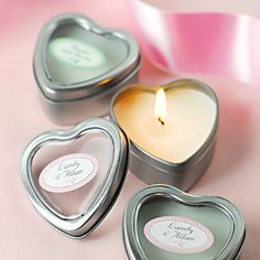 These mini vanilla heart candle tins are the perfect favors for any romantic or heart-themed occasion. Travel tins makes them easily portable wedding favors too.