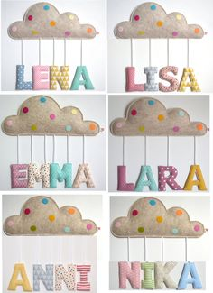 Baptism or birth gift: name decoration / door plate with little cloud and fabric letters Namensschild Wolke ab 49 f. Fabric Letters, Fabric Names, Felt Letters, Fabric Remnants, Fabric Scraps, Scrap Fabric, Fabric Shop, Craft Gifts, Diy Gifts