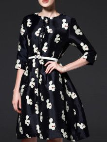 Black Cats Embroidered A-Line Dress