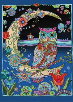 Owl Greeting Card featuring the mixed media Crescent Moon Owl by Marjorie Sarnat