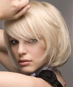 A medium blonde straight bob Mature hairstyle by Steven Carey