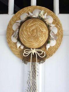 Summery Straw Hat Wreaths  (****ideas for my hat wall)